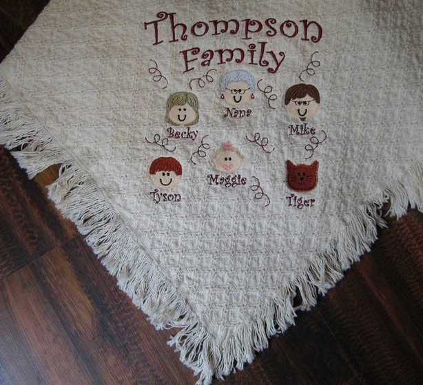 Stick Family Faces Blanket Throw Kids Grandma, Grandpa, Mom Dad