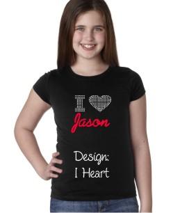Personalized Ladies & Girls Rhinestone T-Shirt I Heart