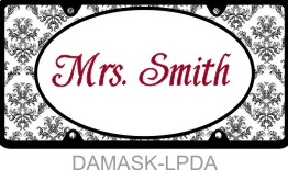 Personalized License Plate Damask