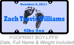 Personalized License Plate Footprints Baby Boy