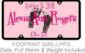 Personalized License Plate Footprints Baby Girl