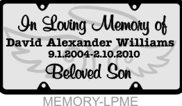 Personalized License Plate In Loving Memory