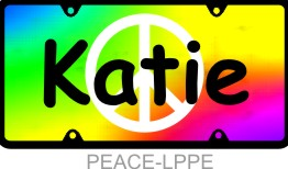 Personalized License Plate Peace Sign Tie Dye