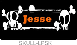 Personalized License Plate Skulls Punk