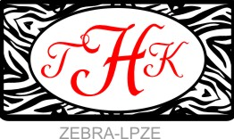 Personalized License Plate Zebra Animal Print