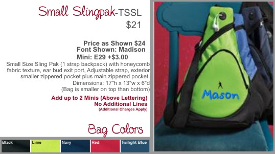 Personalized Small Sling Backpack 5 Colors 1 Strap