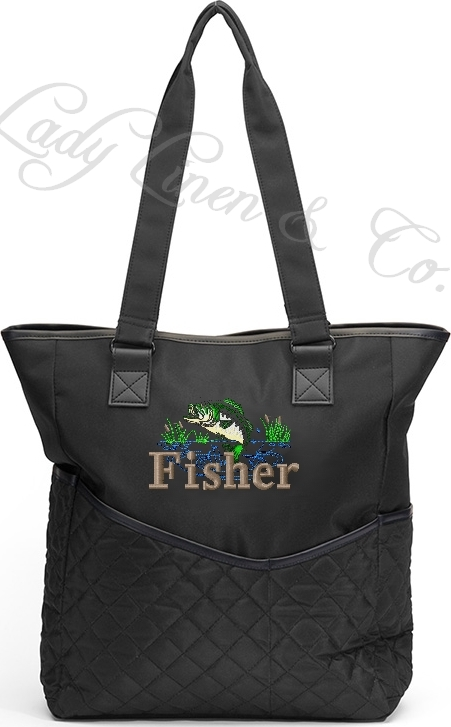 Personalized Diaper Bag Bass Fish  Tote Boy