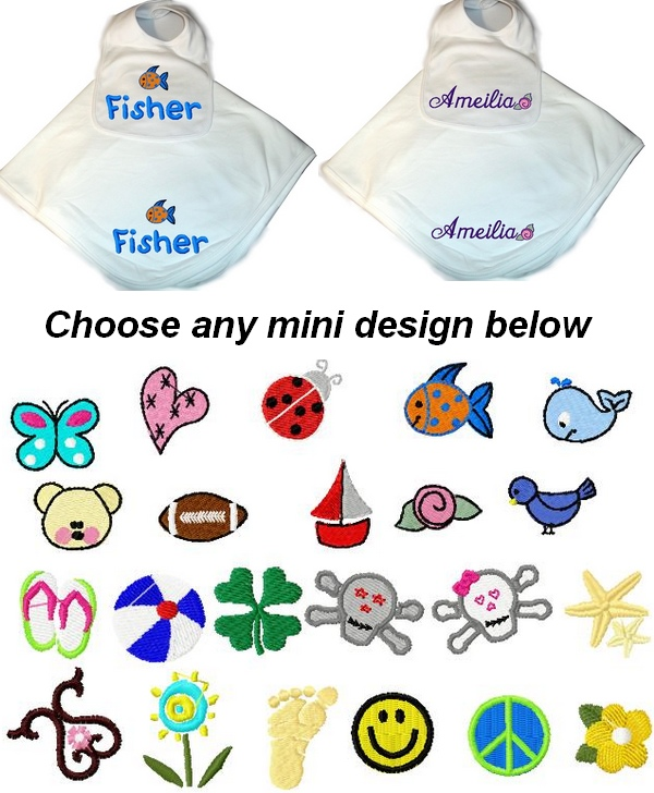 Personalized Baby 2pc. Layette Set Blanket & Bib  butterfly, heart, ladybug, fish, whale, teddy bear, football, sail boat, rose, birdie, flip flops, beach ball, shamrock, skull boy, skull girl, starfish, scroll, flower, footprints, smiley face, peace sign