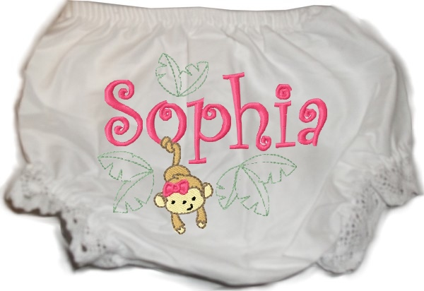 Personalized Baby Bloomers Diaper Cover Monkey girl Jungle Animals