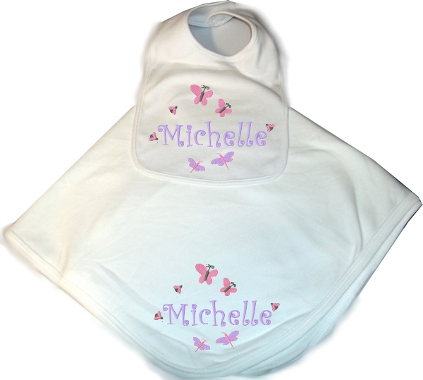 Personalized Baby 2pc. Layette Set Blanket & Bib Butterflies & Bugs Girl