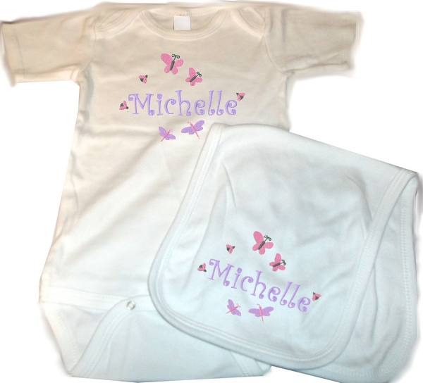 Personalized Baby 2pc. Layette Set Onesie, Burp Cloth Butterflies & Bugs Girl