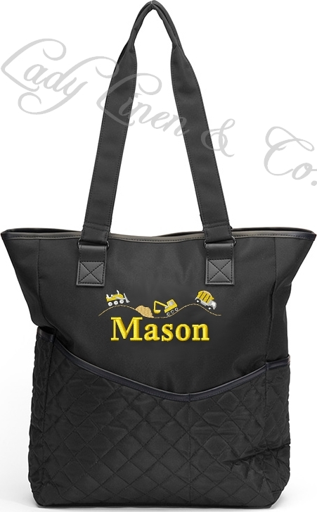 Personalized Diaper Bag Construction Dump Truck Embroidered