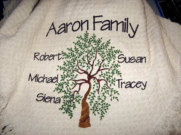 personalized family tree cotton throw blanket