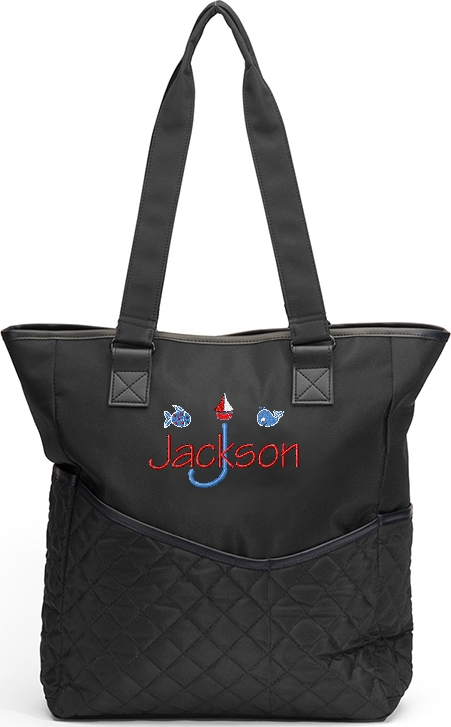 Personalized Diaper Bag Fish Ocean Tote  Boy Sea Sailboat