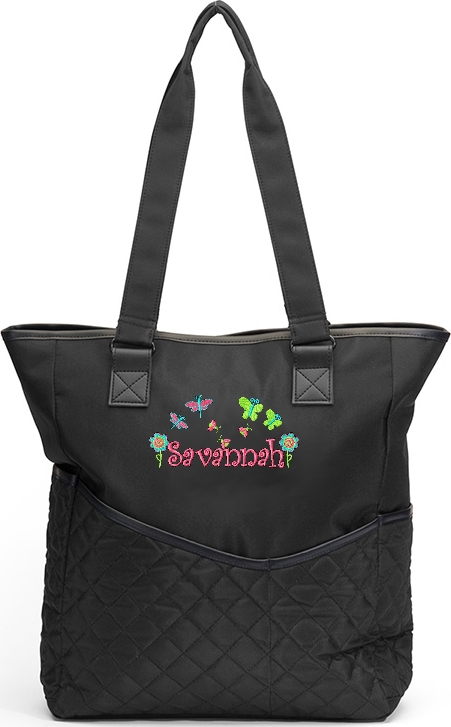 Personalized Diaper Bag  Butterflies Bugs Flowers Girls Tote Baby Girl Monogram