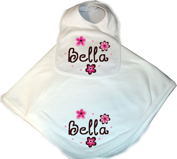 Personalized Baby 2pc. Layette Set Blanket & Bib Flowers & Dots Girl