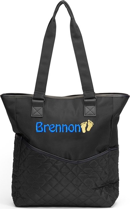 Personalized Diaper Bag Footprints Tote Black Solid