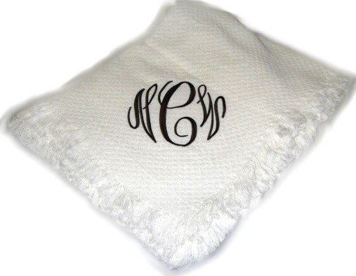 Personalized 40 Letter Monogram Blanket Throw Embroidered Wedding Custom Personalized Wedding Throw Blanket