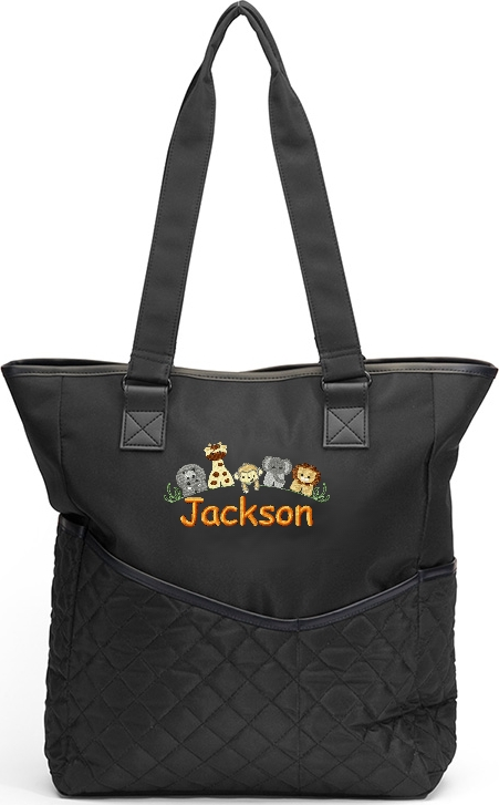 Personalized Diaper Bag Jungle Animals Lion Hippo Monkey Giraffe  Boy