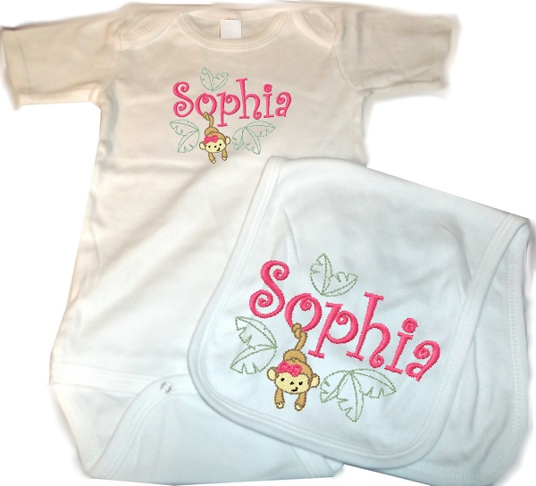 Personalized Baby 2pc. Layette Set Onesie, Burp Cloth Monkey Girl Jungle Animals