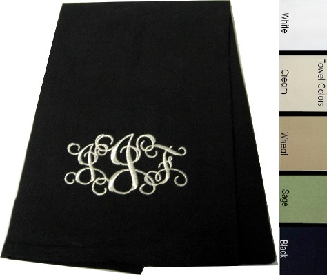 Personalized Monogram Kitchen, Guest Hand Towel, Black, White, Wheat, Cream or Sage