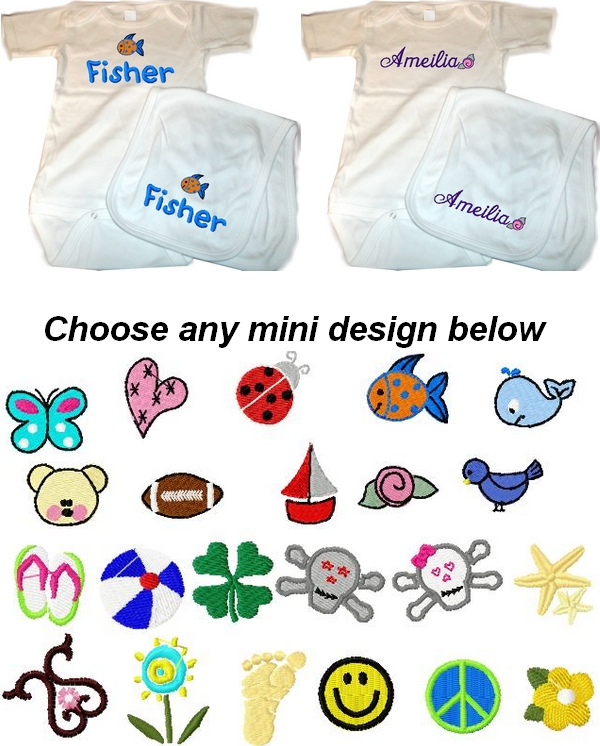Personalized Baby 2pc. Layette Set Onesie & Burp Cloth  butterfly, heart, ladybug, fish, whale, teddy bear, football, sail boat, rose, birdie, flip flops, beach ball, shamrock, skull boy, skull girl, starfish, scroll, flower, footprints, smiley face, peac