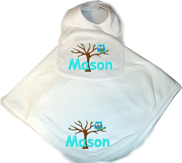Personalized Baby 2pc. Layette Set Blanket & Owl Boy