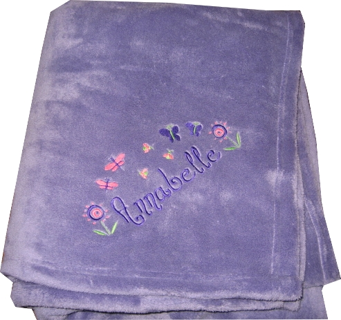 Personalized Plush Fleece Blanket  Girls Tween Flowers & Butterflies