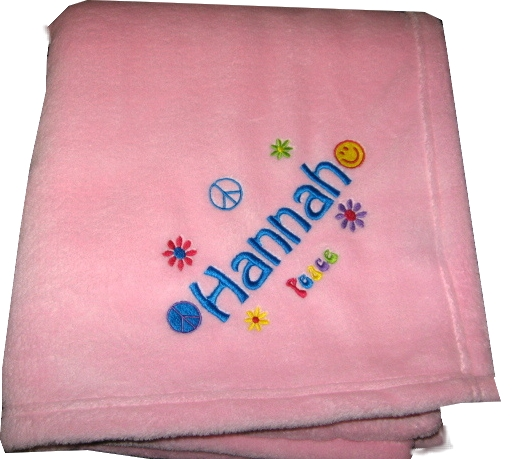 Personalized Plush Fleece Blanket  Girls Tween Peace