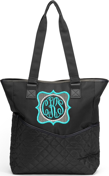 Personalized Diaper Bag Tote Quatrefoil Aqua Teal Pink Blue Monogram Custom