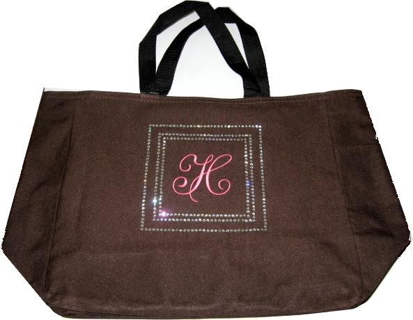 Personalized Rhinestone Bling Tote Bag Monogram