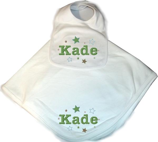Personalized Baby 2pc. Layette Set Blanket & Bib Stars Boy