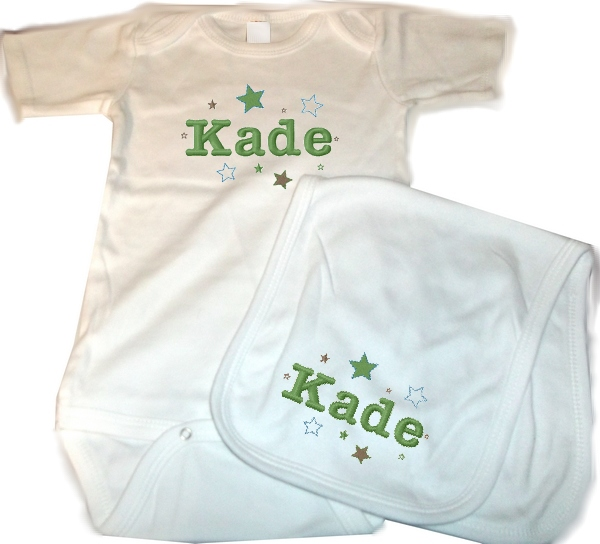 Personalized Baby 2pc. Layette Set Onesie, Burp Cloth Stars Boys