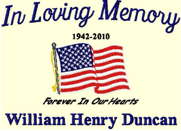 In Loving Memory Cotton Throw USA Flag 3 Lines Custom Text