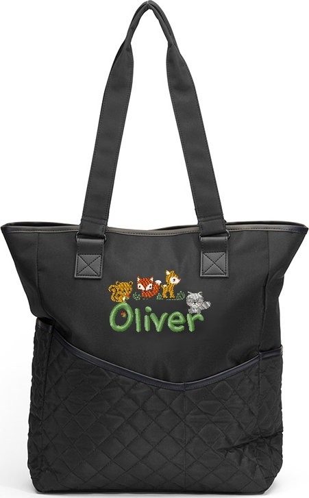 Personalized Diaper Bag Woodland Animals Tote Fox Squirrel Racoon Deer Baby Forest Friends