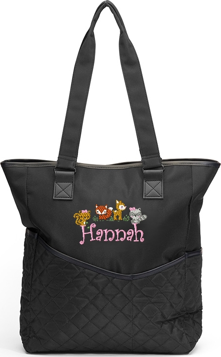 Personalized Diaper Bag Girl Woodland Animals Tote Fox Squirrel Racoon Deer Baby Forest Friends